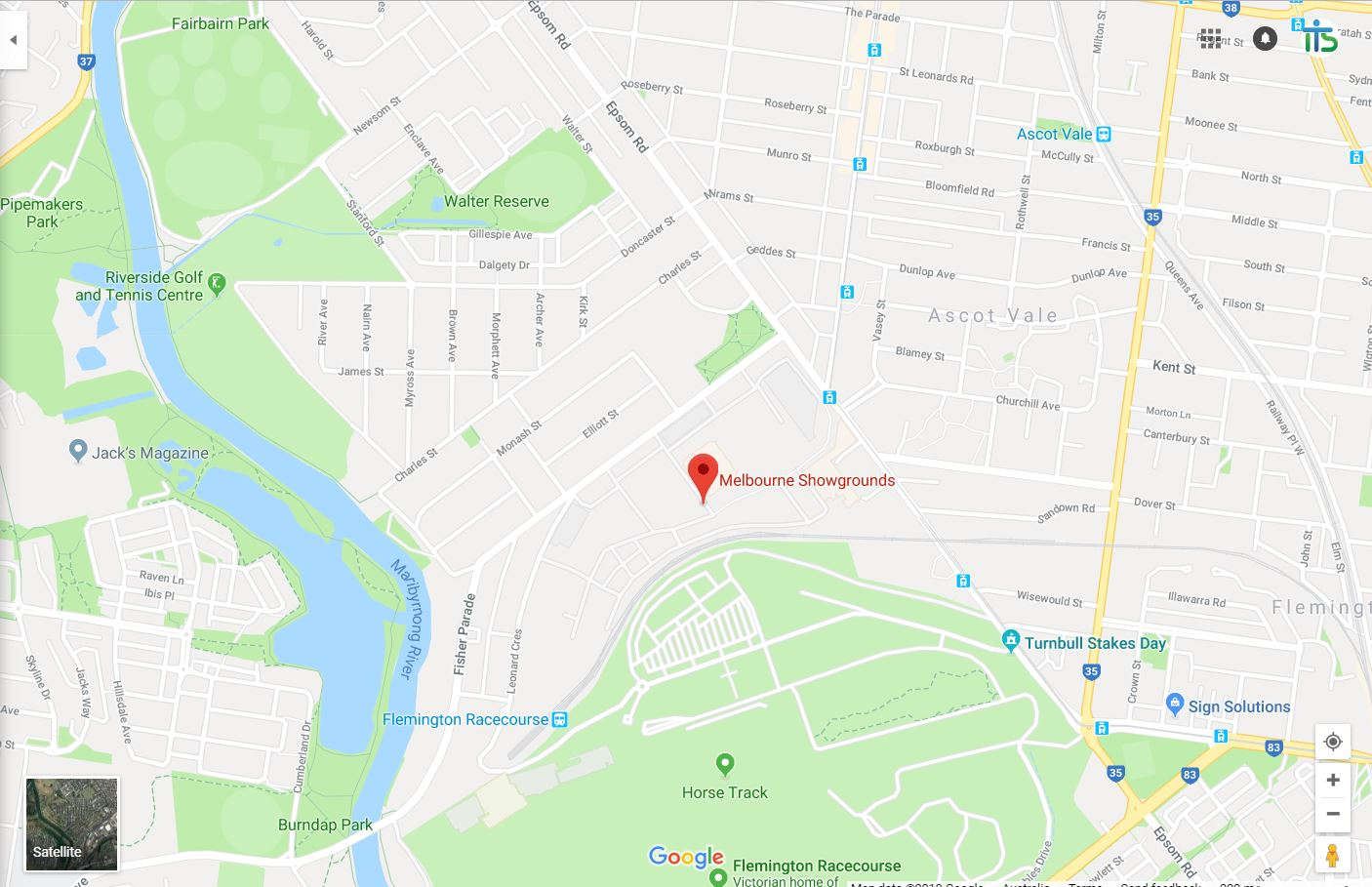 Melbourne Show Grounds - Google Map